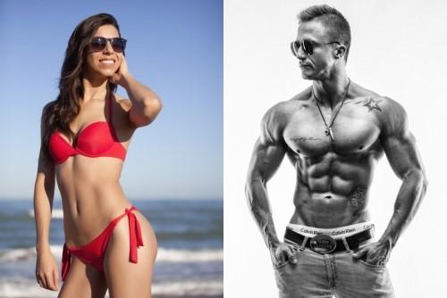 美しいボディラインの女性と筋骨隆々の男性