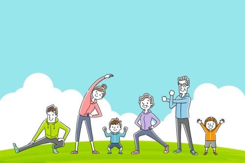 女の子・男の子・お父さん・お母さん・おじいちゃん・おばあちゃんが一緒に運動している