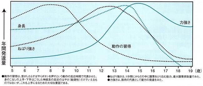 5歳から19歳までの運動能力や体力の年間発達量のグラフ